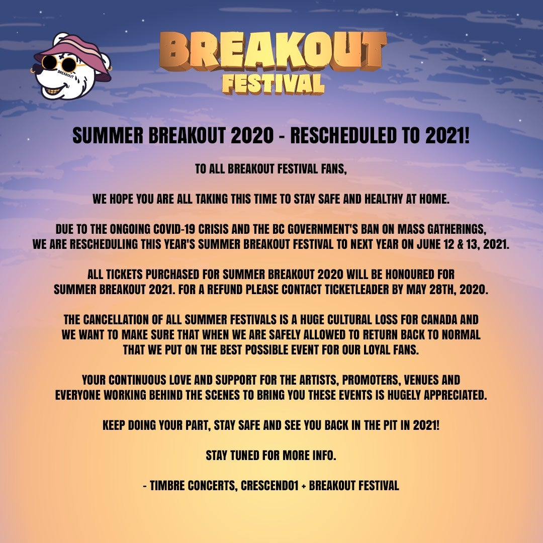 More Info for Breakout Festival at the PNE Amphitheatre has been rescheduled to 2021